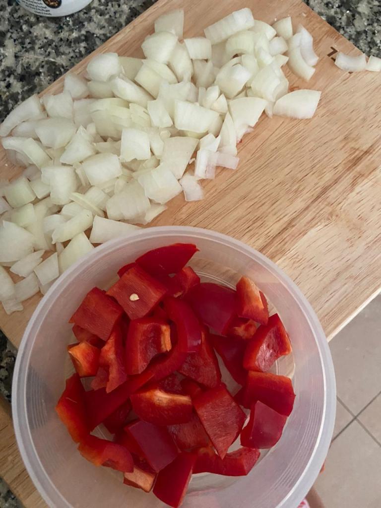 Cebolla y pimiento picado